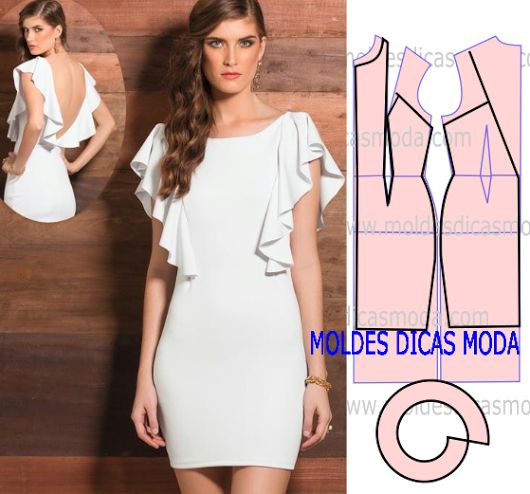 VESTIDO BRANCO COM BABADOS -273 - Moldes Moda por Medida
