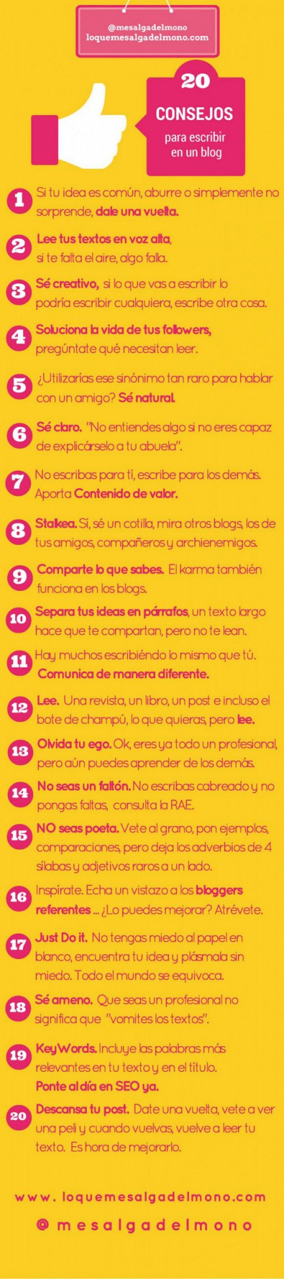 #Infografía: 20 consejos para escribir en un blog