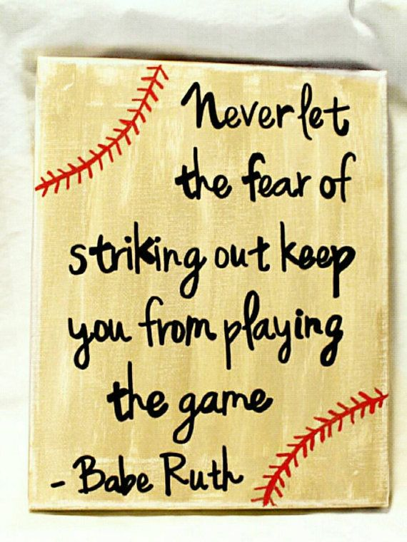 Babe Ruth baseball sign, sign with sports quote, sports sign, Babe Ruth quote, vintage style sign