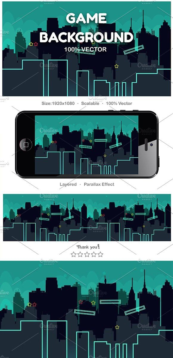 City Cartoon Seamless Background #vector #background