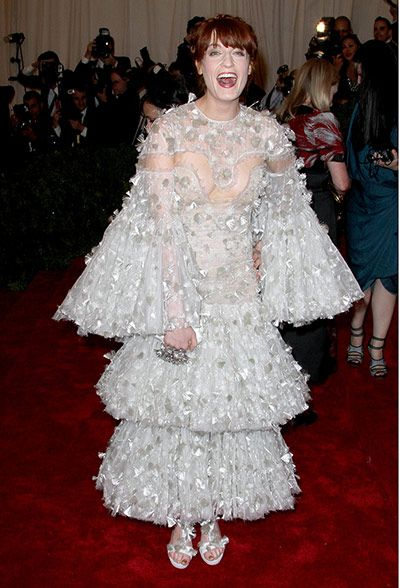 Actually it looked so much better on the runway with the high collar, now it looks like a white christmas tree