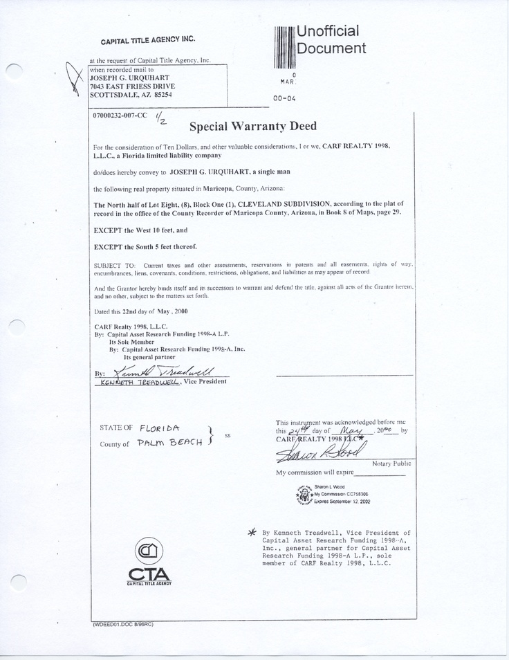 This is the Special Warranty Deed showing my student reselling the - warranty deed form