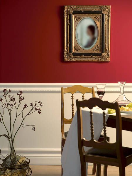 1000 ideas about red dining rooms on pinterest for Dining room wall molding ideas