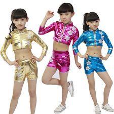 Bright KIDS Jazz Modern Dance costumes Boys Girls Hip Hop Dance Tops+Pants