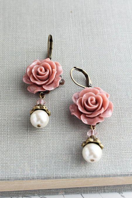 Rose Earrings Pearl Drop Swarovski Beads Dusty