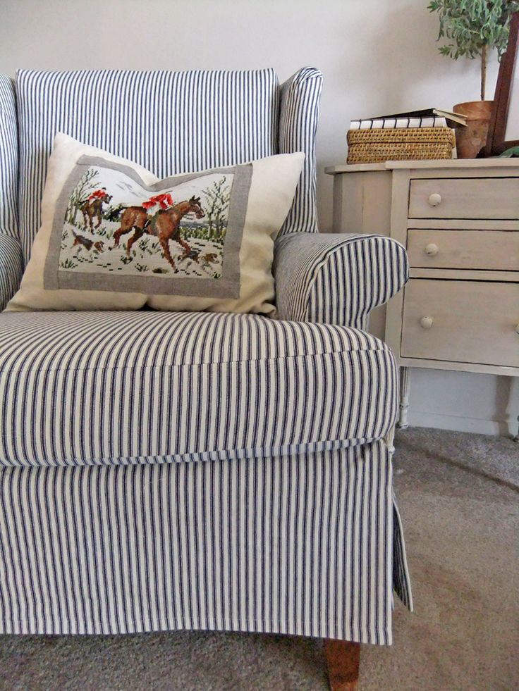 Simple ticking slipcover for a wingback chair. slipcovermaker.com