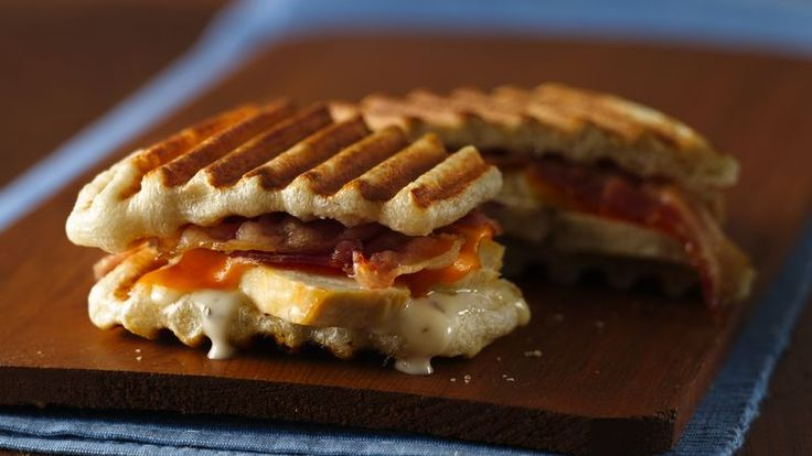 Precooked bacon and cheese are great additions to chicken in these tasty panini.