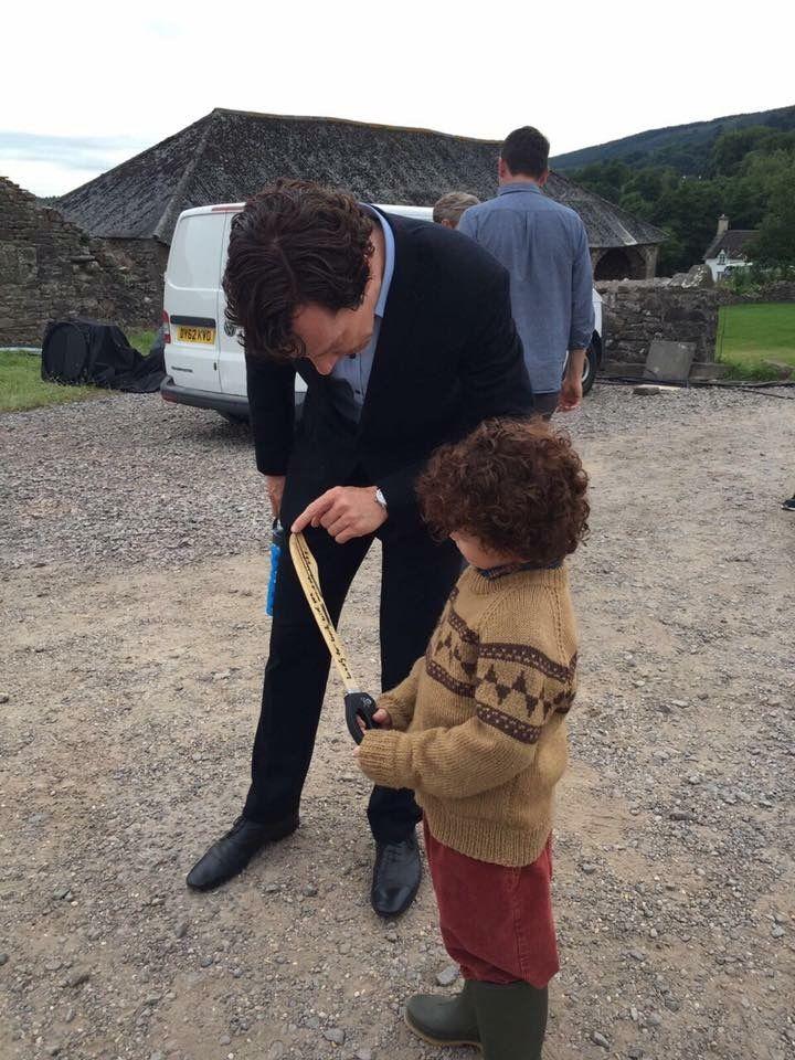 Benedict and Tom Stoughton (mini Sherlock) - The Final Problem behind the scenes. Sherlock Season 4 Episode 3.