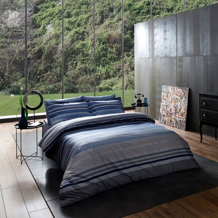 Lenjerie de pat LuxLine SomProduct #inspiration #home #products #blue #grey Blue bed Sheets LuxLIne from SomProduct: find it on: http://www.somproduct.ro/set-lenjerie-pat-stripes-blue.html