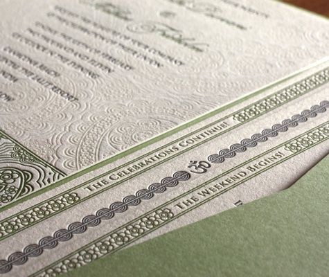 Devi letterpress wedding invitation design