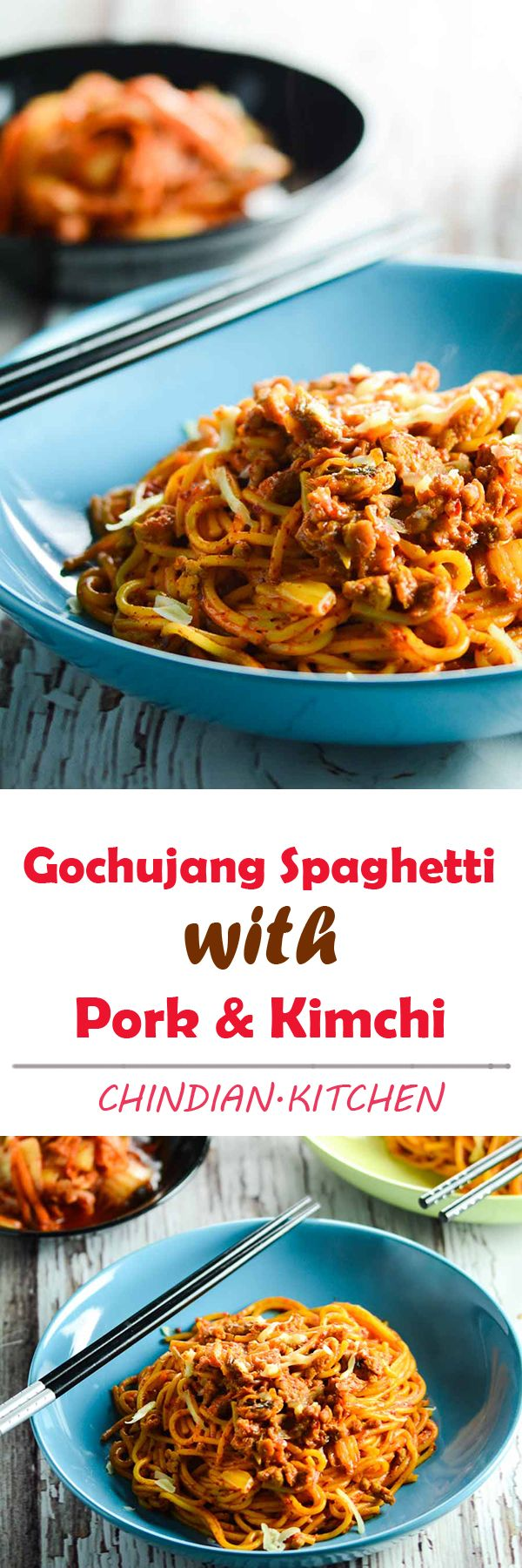 Korean Gochujang Spaghetti with Kimchi