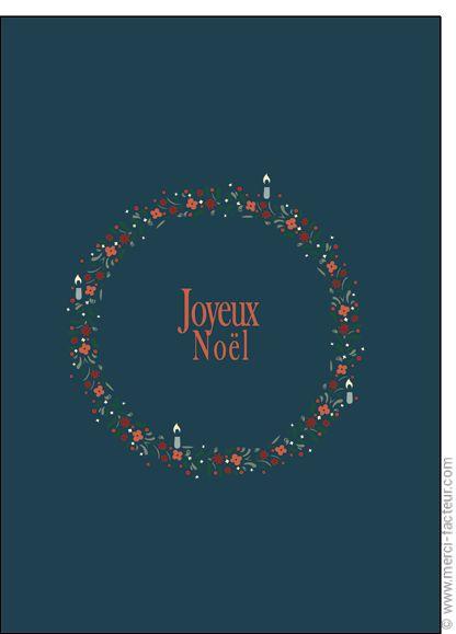 """#Carte #Noël """" #JoyeuxNoël """" Couronne de No�l et bougies pour envoyer par La Poste, sur Merci-Facteur !"""