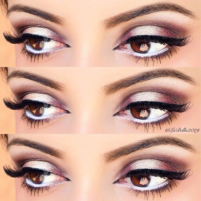 white duo chrome smokey eye, lashes, winged eyeliner, brown eyes