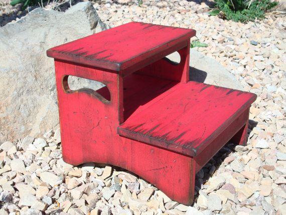 Kitchen wood distressed two-step stool, bathroom stool, wood stool, western stool