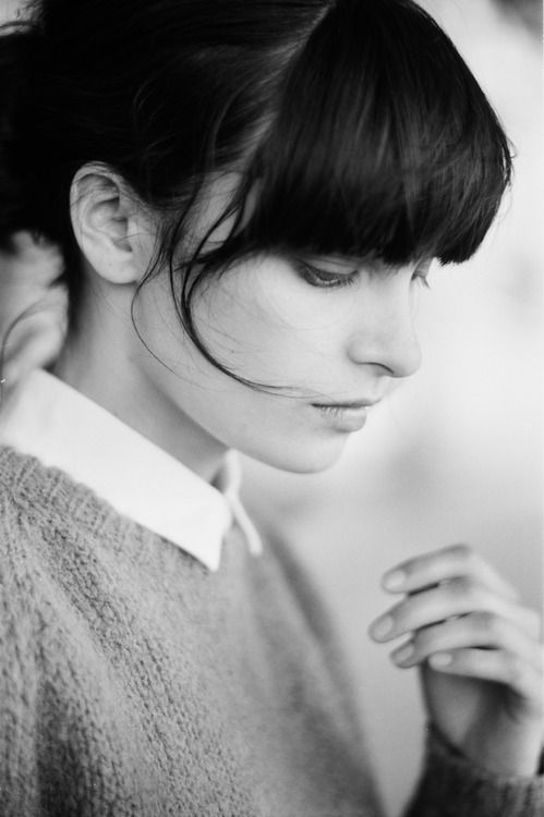 long fringe, collar and sweater.