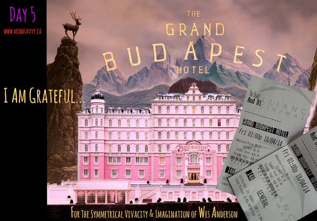 I'd love it if I could vacation in a Wes Anderson film...til then I relish the transportational powers of his films. 100 minutes of amazingness. #GrandBudapestHotel #Gratitude #WesAnderson