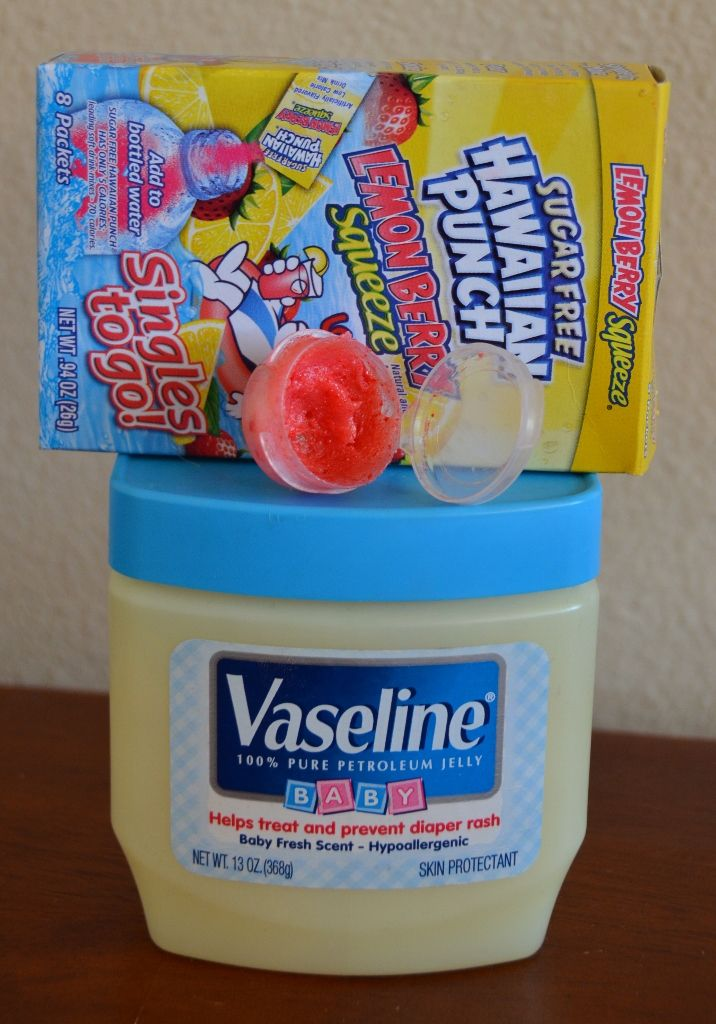 DIY lip stain + plumper - uses Vaseline and Hawaiian Punch mix (yum!)