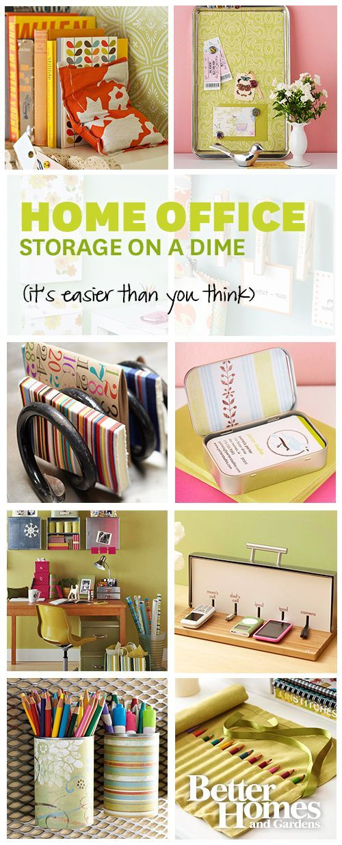 Clever and inexpensive office storage is easy with these tricks: http://www.bhg.com/rooms/home-office/storage/cheap-home-office-storage-ideas/