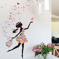 Butterfly Flower Girl Removable Wall Sticker Vinyl Decal DIY Mural Nursery Decor