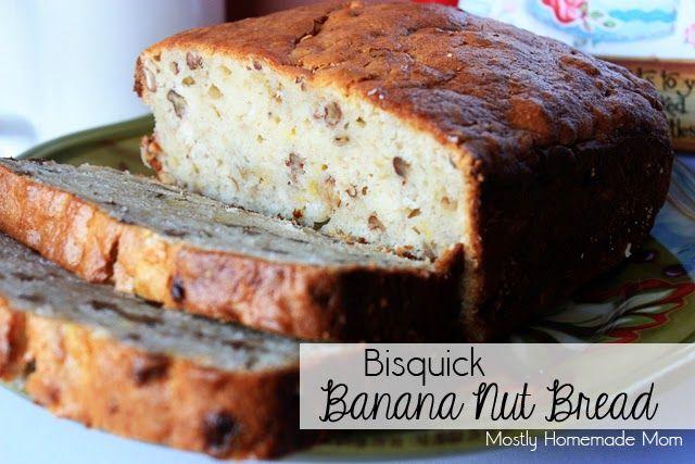 EASY Bisquick Banana Bread - bisquick, sugar, cream cheese, pecans, eggs, bananas, YUM! www.mostlyhomemademom.com
