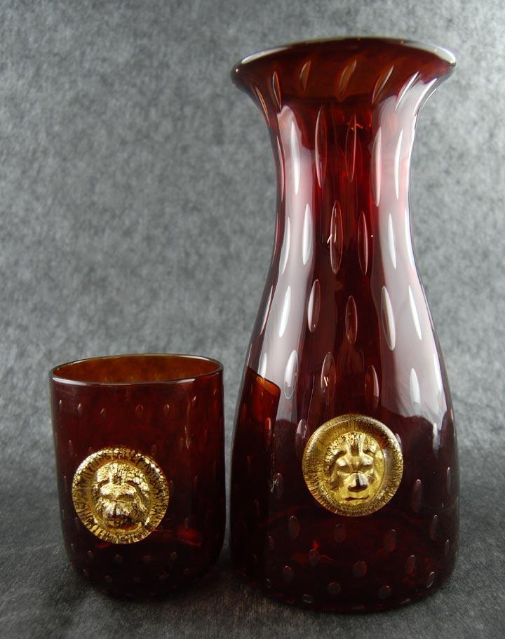 Set caraffa da vino con bicchiere Goto de Fornase rosso