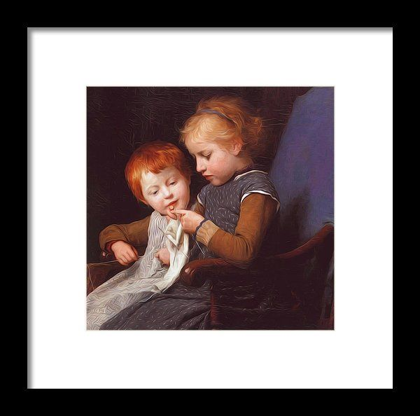 The Framed Print featuring the painting The Little Knitters by Anker Albert