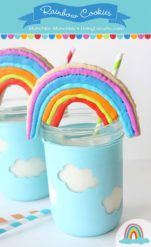 Easy Rainbow Sugar Cookies & Cloud Jars by Munchkin Munchies via LivingLocurto.com