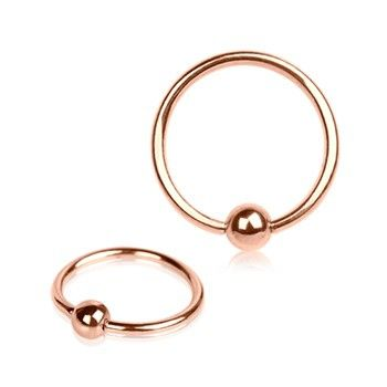 14G Rose Gold Tone Captive Bead Ring - Image 1