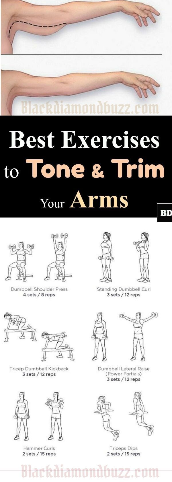 Best Exercises to Tone & Trim Your Arms: Best workouts to get rid of flabby arms for women and men Arm workout women with weights by bleu. by eva.ritz