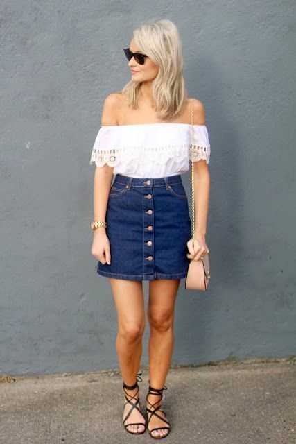 04 button down denim skirt with an off the shoulders top - Styleoholic