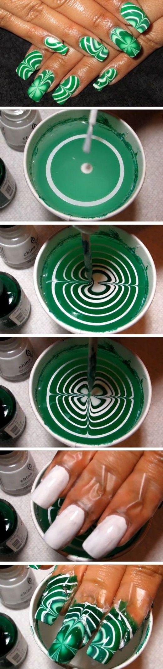 Water Marble Shamrocks | Easy St Patricks Day Nail Designs