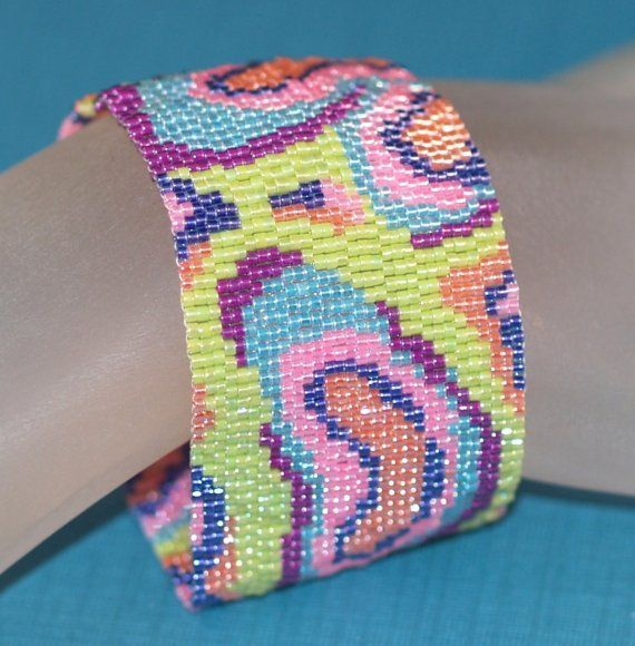 Mokume Gane...  Ready for summer?  This cuff design is modeled after an ancient technique, but it's thoroughly modern!  $ 67: Pastel, Wood Grains, Peyote Bracelet, Bright Colors