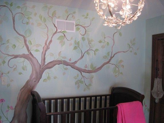 Albero murale vivaio arte mano dipinta Custom di MariasIdeasArt