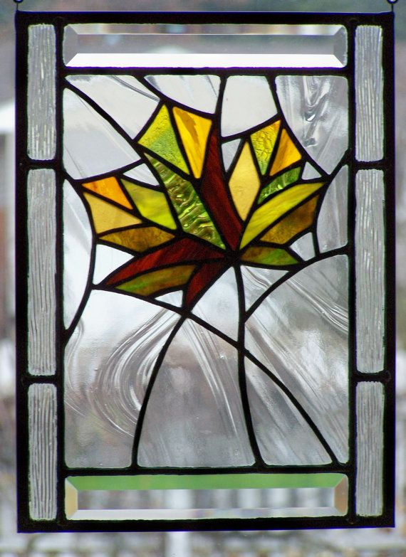 Stained Glass Panel Autumn Maple Leaf Holiday Fall Home