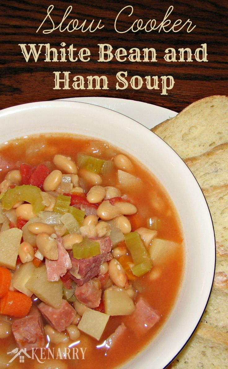 ... Cooker White Bean and Ham Soup simmering in the crock pot for dinner