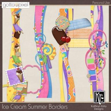 Ice Cream Summer Digital Scrapbook Borders. $3.00 at Gotta Pixel. www.gottapixel.net