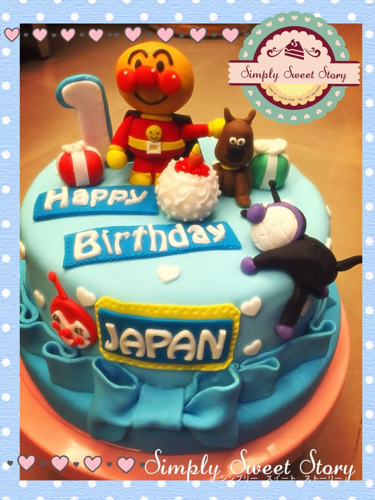 Anpanman cake fondont pinterest cakes for Anpanman cake decoration