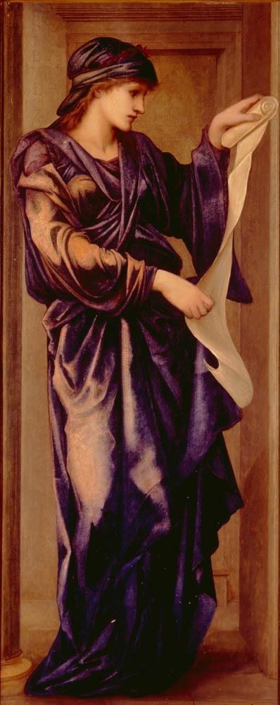 Sybil by Sir Edward Burne-Jones (British): Sybil(s) are prophets. The number of Sybils varies from 1 to 10. The most well-known is the Cumaean Sibyl. She had a deal with Apollo and she helped the Greek hero Aeneas, whose descendants founded Rome according to legend.