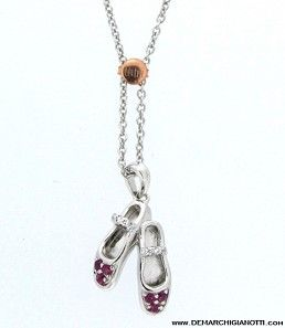 Tutù Gioielli collana in argento zaffiri bianchi e rossi modello srdp-scarpett www.demarchigianotti.com