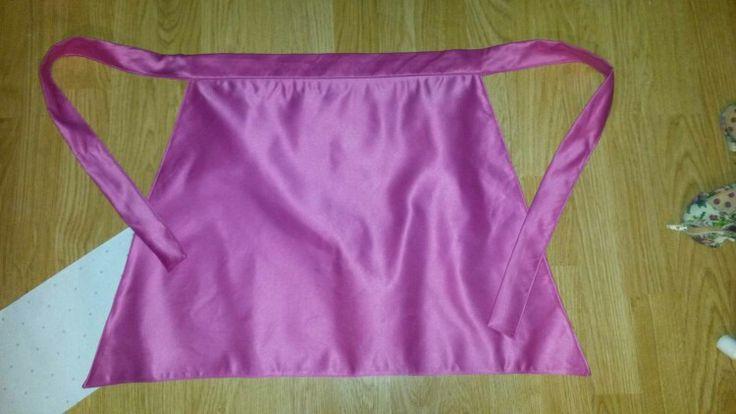 Pink satin apron. Custom made