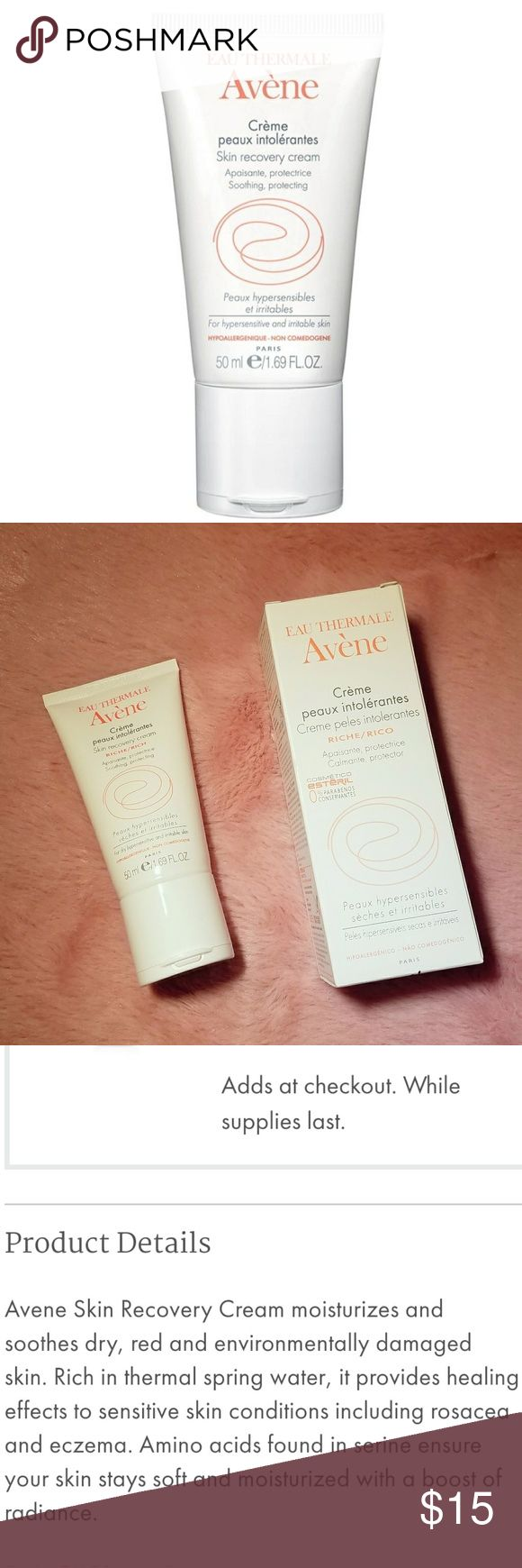 **NIB Avene Skin Recovery Cream** New haul from Avene this cream retails at $ 35 the perfect moisturizer for people with very sensitive skin or for people who are just trying to avoid parabens, fragrance & alcohol. Sephora Makeup