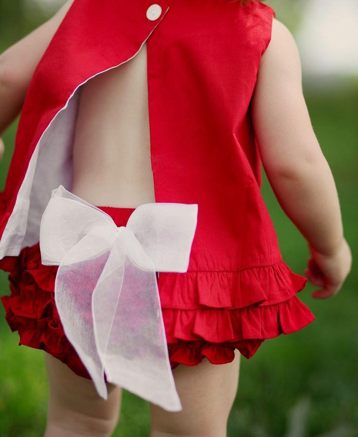 #Rufflebutts RuffleButts.com - Red w/White Bow Bloomer / Baby Bloomer