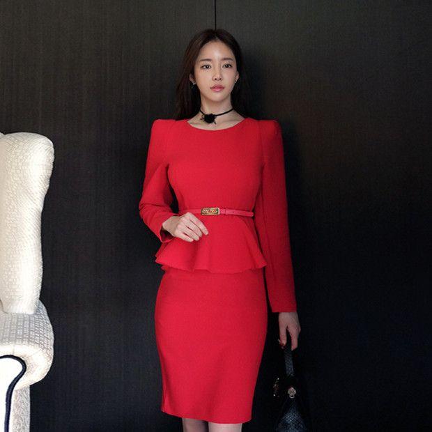Buy Now (Fashion O Neck Peplum Red Pencil Dress) from Sheetag - https://www.sheetag.com/product/fashion-o-neck-peplum-red-pencil-dress/