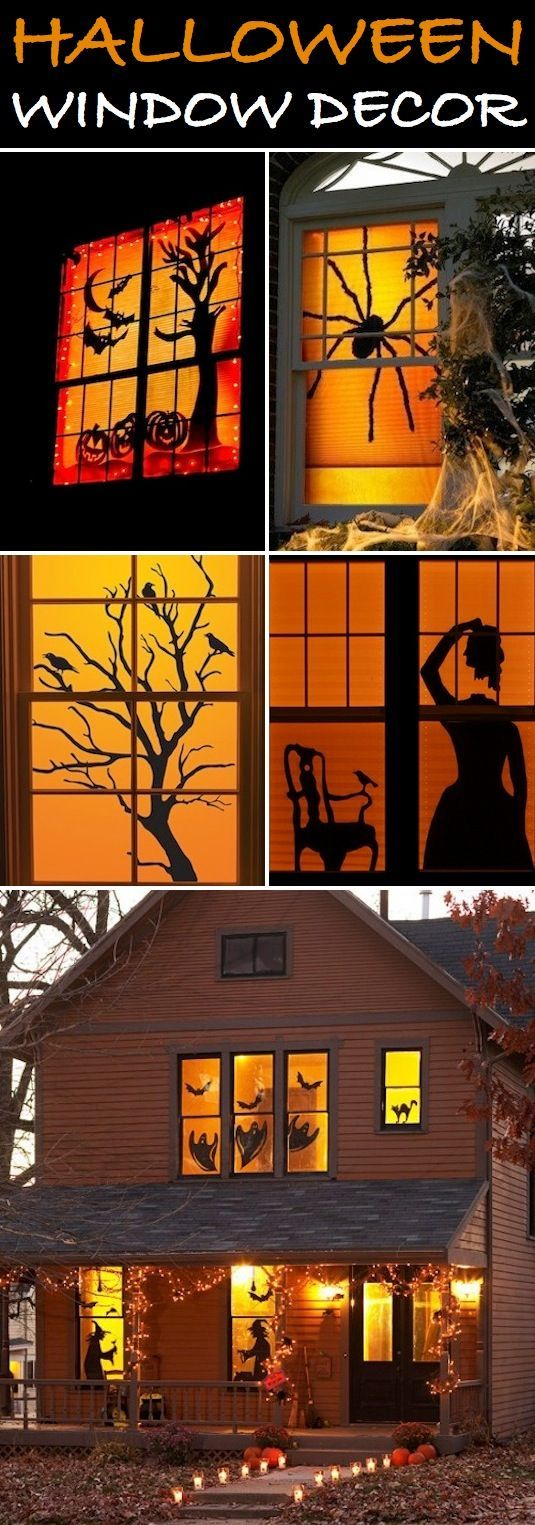 Halloween Window Decor If you want something that really stands out this Halloween, window silhouettes are easy and really impressive! You c... #halloweendecorations