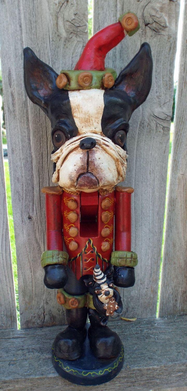 Vintage Style Folk Art Boston Terrier Dog Christmas Santa Nutcracker Ooak Nut Cracker Nostalgic by DollThreadsandClay on Etsy https://www.etsy.com/listing/203746581/vintage-style-folk-art-boston-terrier