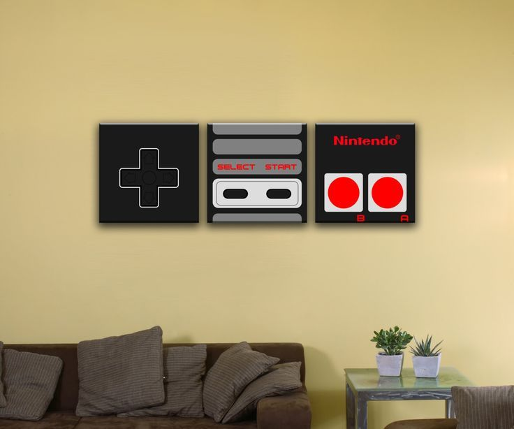 NES Controller, 3-Piece Mural (72″ x 24″) – Canvas Wrap Print –  – #GamerRoom|DIY