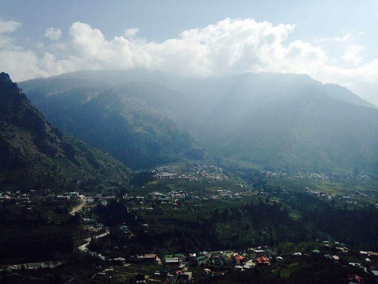 Top most cottage view of mountains in the morning at manali