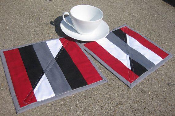 Quilted Mug Rug modern placemat black white by OliveStreetStudio