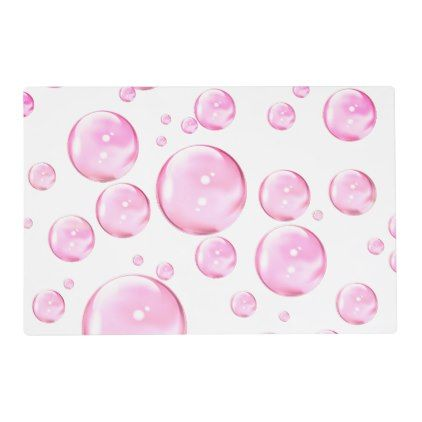 Pink Bubbles White Placemat - home gifts ideas decor special unique custom individual customized individualized