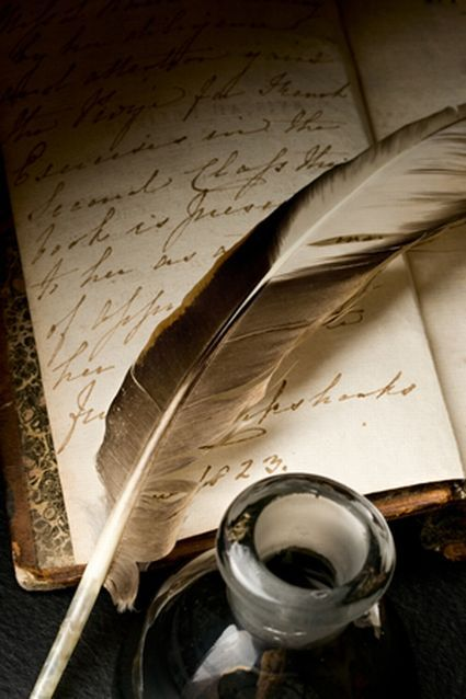 feather pen and inkwell with old handwritten journal beneath; image taken from: relique-memoirs.tumblr.com